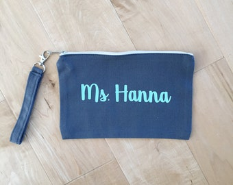 Zippered Wristlet, Teacher Gift, Personalized Gift, Customize, Name Pouch, Purse Organizer, Gift Card Holder