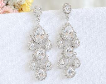 Bridal Earrings, Chandelier Wedding Earrings, Crystal Teardrop Earrings, Oval Halo Dangle Earrings, Vintage Style Wedding Jewelry, KARINE