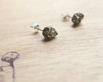 1 Pair RAW Pyrite Pretty Stainless Steel Earrings Chakra Earring GENUINE Crystal Natural earrings  healing crystals fools gold
