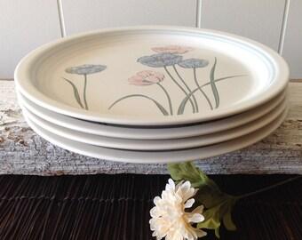 "4 Baker Hart Stuart ""Joy"" Dinner Plates, Pink, Blue Flowers, Poppies, 1980s Japanese Stoneware Large Plates, Set Of 4"
