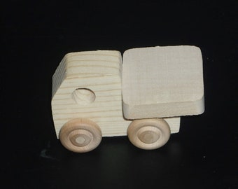 Pkg of 3 Handcrafted Wood Toy Trucks 1AH-U-3 Unfinished or finished
