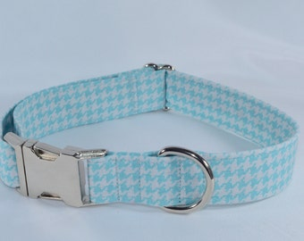 Houndstooth Adjustable Dog Collar - aqua, Personalized, Engraved, ID Buckle
