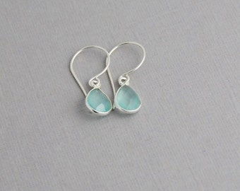 Chalcedony Earrings in Sterling silver - Tear Drop Chalcedony Silver drop Earrings
