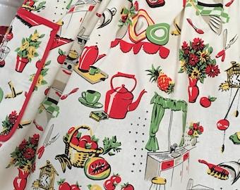 50's Kitchen Half Apron, Michael Miller's Fifty Kitchen Retro Apron, 50's Kitchen Retro Apron, Retro Housewife
