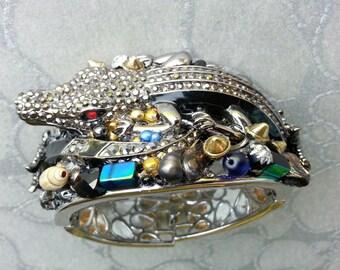 Crocodile Cuff for Men/Guys Bracelet - shells rhinestones starfish pearls beads Custom to your wishes, black purple blue dark steel brown