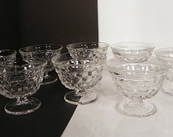 Fostoria American Sundae Glass Cups Sherbet Crystal Ice Cream Dish Goblet (s) LOT OF 8 Bowls
