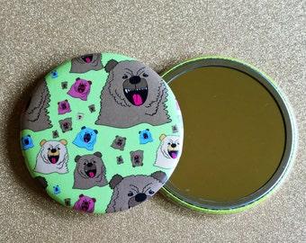 2.25 Inch Hand Mirror, Growling Bear Mirror, Purse Mirror, Pocket Mirror, Compact Mirror, Bear Mirror, Hand Mirror, Round Mirror
