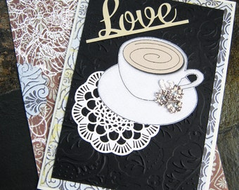 Teacup Love Card, I love you, Friendship Card, Thinking of you, Get Well Card, Tea lovers, Just because, Dimensional flowers, teacup