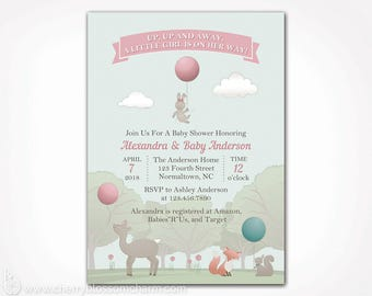 Woodland Baby Shower Invitation Girl - PRINTABLE Digital File - Pink and Blue Deer Fox Bunny Rabbit Spring Baby Shower Invite Gender Reveal