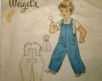 Vintage Weigel's Sewing Pattern 1950's Bib front Overalls size 2 1849