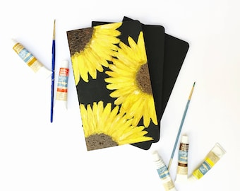 SUNFLOWER MOLESKIN JOURNAL// Hand-painted journal