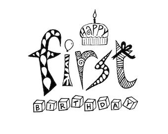 First Birthday Card Baby Toddler Kids 1st Birthday Blank Inside