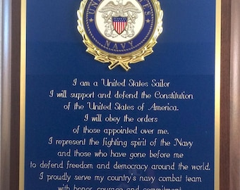 USN / United States Navy Sailor's Creed Plaque - Can be Personalized - Nice Gift or Award
