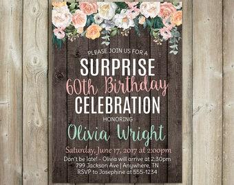 Surprise Birthday Invitation - Watercolor Flowers - Digital File