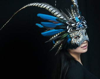 Flying Heads Blue Tribal Feather Shaman Mask, Performance, Carnival, Masquerade, Theater, Costume, Halloween, Ceremony, Parade, Photoshooot