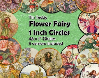 Flower Fairy Digital Collage Sheet  - 1 Inch Fairy Circles x 48  - Perfect for Mixed Media, Paper crafts, Jewelry, Inchie Fairies Circles