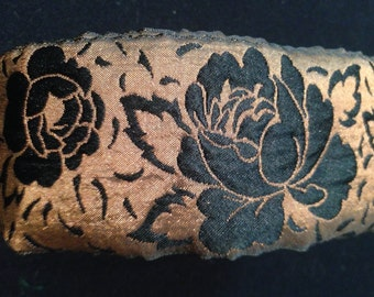 Vintage French Made 2 1/2 Inch Wide Brown and Black Rose Floral Patterned Ribbon