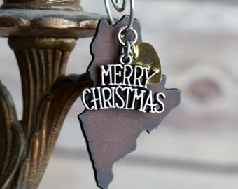 MAINE Christmas Ornament SMALL, MAINE Ornament, Christmas Gifts 2018 Personalized Gift State Christmas Ornaments Maine Gift Stocking Stuffer