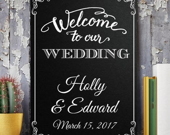 Welcome To Our Wedding Personalized Black Canvas Sign (MIC6123)