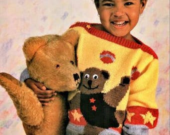 Toddlers and Childs Teddy Bear Picture Knitting pattern jersey size 22, 24, 26, 28, and 30 inch chest, dk or worsted weight yarn or wool