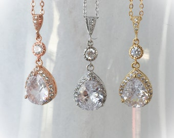 Rose Gold, gold or silver Bridal Necklace, Crystal Wedding Jewelry, Crystal Drop Bridal necklace Swarovski crystal Bridesmaids jewelry