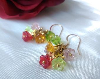 Multicoloured Czech glass bell flower earrings cluster flower earrings dangle gold earrings