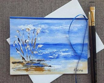 Hand made greeting card Hand painted card Hand made card Hand painted greeting card Art card Art Original Oil painting Beach art 5x7 art