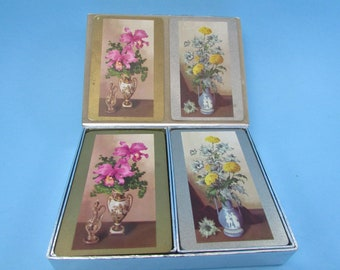 Congress Playing Cards,  VINTAGE Set Of 2  Flowered Playing Cards,  Mid-Century Cel U Tone Finish Playing Cards