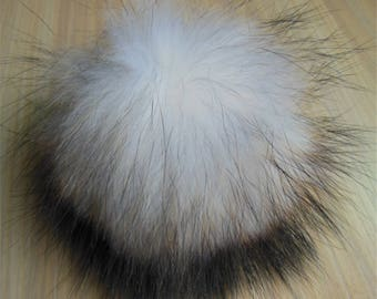 15cm White Real Raccoon Fur Pom Pom Knit Hat Pompoms with snap Removable
