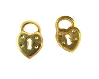 Tiny Heart Lock Charms (20x) (M847)