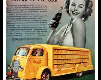 1938 International Trucks Ad with Yellow Coca Cola Truck - IH - Wall Art - Home Decor - Coke - Soda - Pop - Retro Vintage Advertising