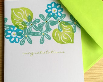 Congratulations Note Card - Floral Congratulations Card - Flower Medley - Floral Wedding Card - Hand Printed Greeting Card