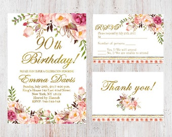 90th birthday invitations etsy 90th birthday invitation filmwisefo
