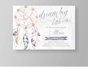 Girls Birthday Invitation Template   Tribal Boho Dreamcatcher Party Invite   Dream Big   Printable   Editable   Instant Download #035GBD
