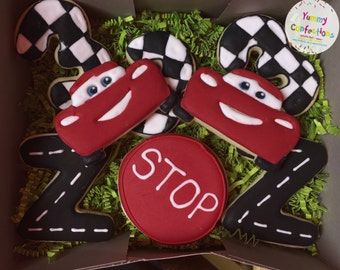 Race Car Cookie Favors - 1 Dozen (12 Cookies)