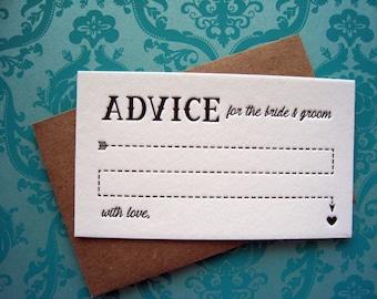 Letterpress Advice Cards - arrow advice bride & groom (pack of 10)