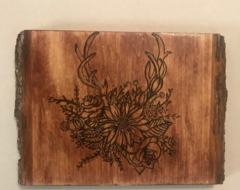 Wood burned art, pyrography flowers, antlers, floral art