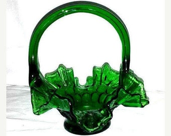 Vintage Green Glass Thumbprint Basket,Green Ruffle Glass Basket,Emerald Green,Glass Basket, Ruffled Glass Basket,Vintage Glass,Green Glass