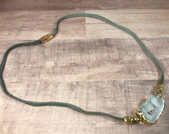 Vegan Suede Grey Necklace with Gold Trimmed Quarts Crystal Stone Finished with Magnetic Gold Claps