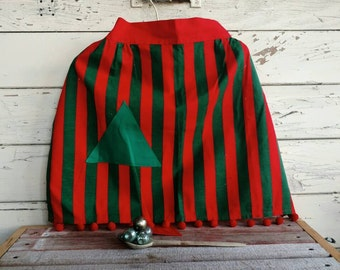 Retro Christmas Tree Half Apron - Vintage Red + Green Holiday Wear, Hostess With the Mostest, Gift for a Hostess, Striped Christmas Apron