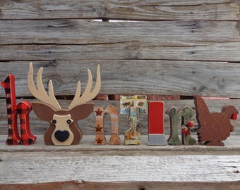 Hunting Decor - Cabin Decor - Deer Head Decor - Man Cave Decor - Fathers Day Gifts - Hunting letter set