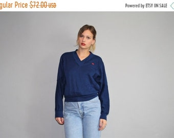 Flash SALE 50% - Designer Vintage 80s Oscar De La Renta Navy Sweatshirt  - Vintage Oscar De La Renta  -  W00302