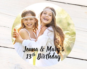 Photo Personalized Labels, Birthday Personalized Labels - Custom Gift Labels