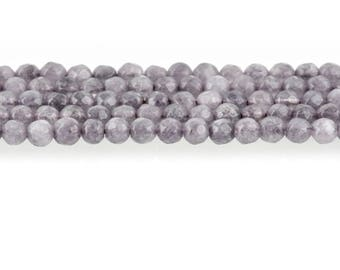 4mm Round STEEL GREY JADE Gemstone Beads Faceted full strand, 90 beads, gjd0206