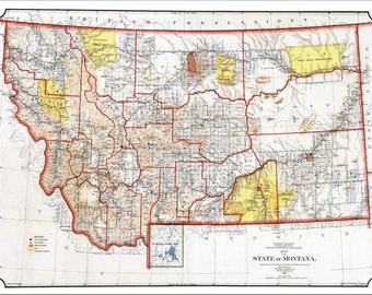 MONTANA MAP, Map of Montana, Montana Print, Montana, Vintage Map, Historic Map 1898