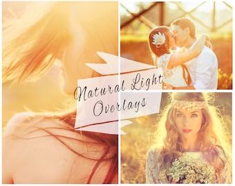 Natural Sun Light Photoshop Overlays, Sunlight Overlays, Sun Flare, Wedding Overlays, Digital Backdrop, Instant Download