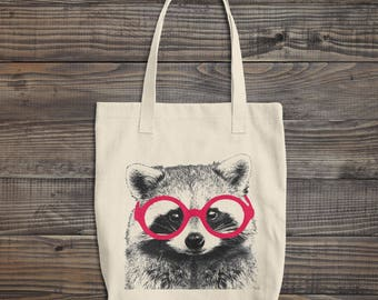 Clever RACCOON Tote Canvas Bag, Animal With Glasses Tote, Reusable Grocery Bag, Natural Cotton Tote, Book Bag Teachers Tote, Made in USA