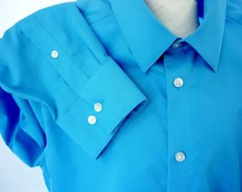 """Calvin Klein Long Sleeve Cotton Shirt Blue 16.5"""" Neck"""