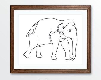 Elephant Art Print - Minimalist Elephant Art - Line Drawing Art Print - Minimalist Home Decor