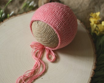 Simple Knit Bonnet in Coral - Newborn Knit Bonnet - Ready to Ship